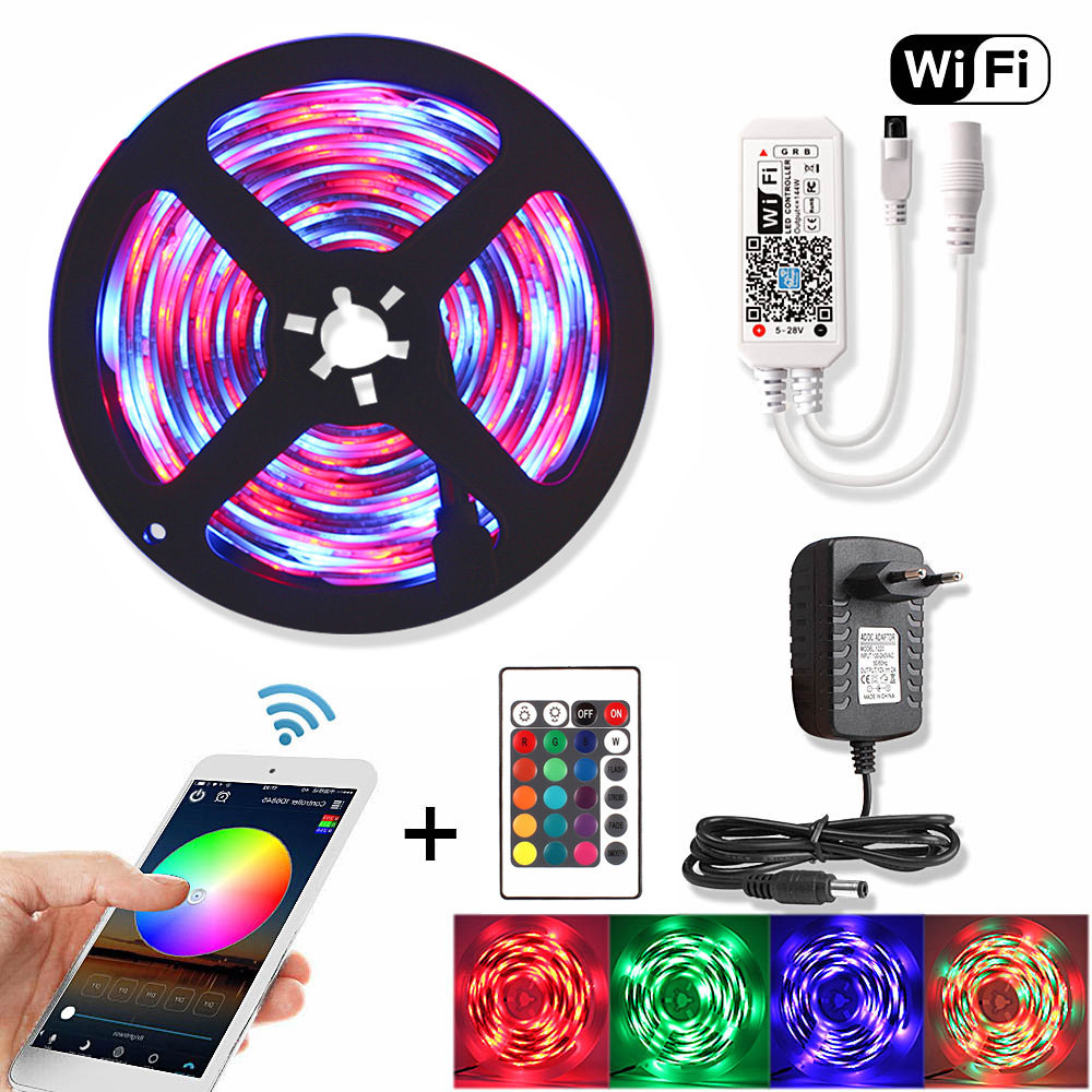 5M WiFi RGB LED Strip Waterproof 2835 DC 12V Diode Tape Flexible Neon Ribbon Led Lights Strips RF Remote Controller+Adapter Plug