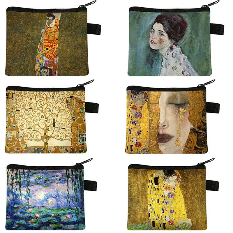 Oil Painting Kiss / Waterlily Coin Purse Gustav Klimt / Monet Coin Bag Women Lipstick Card Keys Holder Money Bag Ladies Wallet