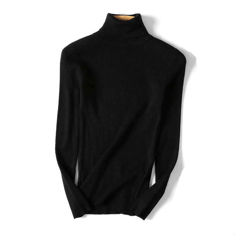 Frauen Herbst Strick Langen Ärmeln Slim Fit Hohe Kragen Weibliche Pullover Tops FEA889