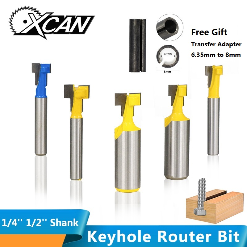 XCAN 1/4'' 1/2'' Shank Keyhole Router Bit T Slot Milling Cutter Hex Screw Bolt Hole Cutter Wood Router Bit