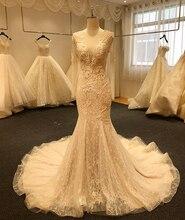 SL 5003 cristal recién llegado, vestidos de novia de sirena con cuentas, vestido de novia de manga larga con botones de perlas, vestido bohemio de boda 2020