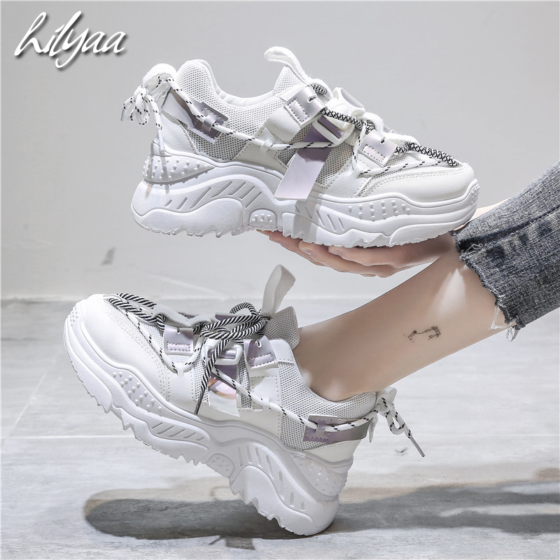 Spring Fashion Platform Sneakers PU Leather Mesh Breathable  Casual Girls Thick Sole Sneakers Female  Dad Shoes  Zapatos Mujer