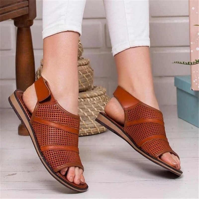 נשים קיץ סנדלים שטוחים גבירותיי קרסול אבזם עור מפוצל שטוח נעלי אישה עגול חור פיפ הבוהן מזדמן אופנה נשי נעלי 2020