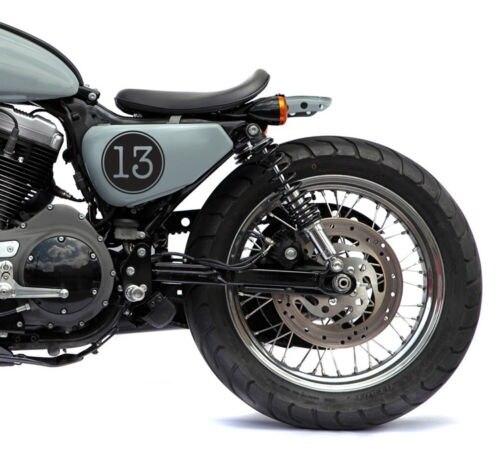 """Para (4x) 4 """"sorte número 13 vintage cafe racer, rato, bobber motocicleta tanque decalques"""
