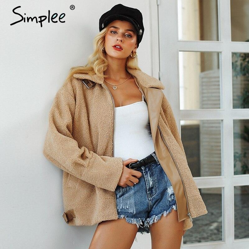 Simplee Furry teddy fur coat jacket women 2018 Winter turndown collar loose jacket Casual streetwear plush warm thick overcoat