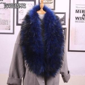 Image 3 - Qearlstar taklit kürk eşarp Supre uzun lüks ceketler ceket yaka kadınlar için 120*20cm susturucu sıcak dekorasyon şal sarar ZKG16