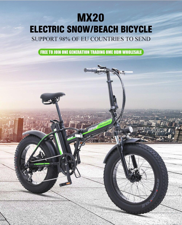 Electric Bike 500W4.0 Fat Tire Electric Bicycle  Beach Cruiser Bike Booster Bike 48v Lithium Battery Folding Mens Women's ebike 5