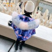 Xiaolumao зимняя куртка для девочек плюс бархатная теплая с
