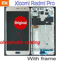 100% Original OLED mejor pantalla LCD pantalla táctil digitalizador montaje Sensor + marco para Xiaomi Redmi Pro hongmi Pro el primer