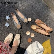 SUOJIALUN Women Flats Shoes Ballet Squar