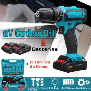32V Max Cordless Screwdriver Impact Drill Power Driver 2 Batteries Electric Screwdriver 2 Speed 3 IN1 perforator Hammer Drill - DISCOUNT ITEM  30% OFF All Category