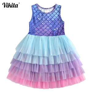 VIKITA Brand Kids Tutu Dress for Girls Birthday Party Princess Dresses Children Beach Clothing Baby Girls Summer Dress(China)