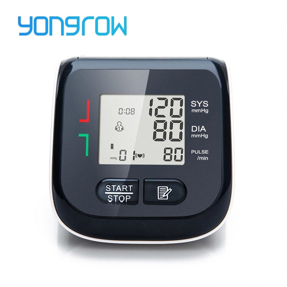 Yongrow Medical Automatic Wrist Digital Blood Pressure Monitor Digital Lcd Sphgmomanometer Heart Beat Rate Pulse Meter Tonometer