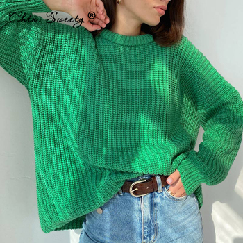 Women's Knitted Thicken Pullovers Sweater Autumn Winter Oversize Long Sleeve Casual Loose Sweaters Female Solid 2021 Ladies Top 1