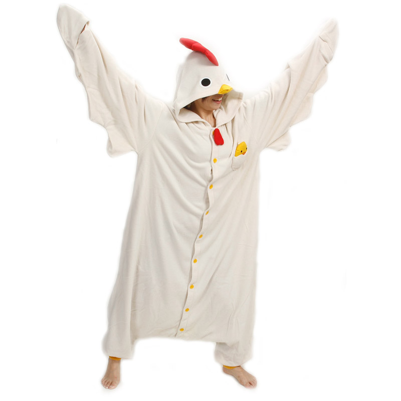 Sanderala Unisex Animal Adult White Chicken Onesies Pajama Sete Pyjama Cosplsy Costumes Cute Cosy Sleepwear Man & Women Homewear