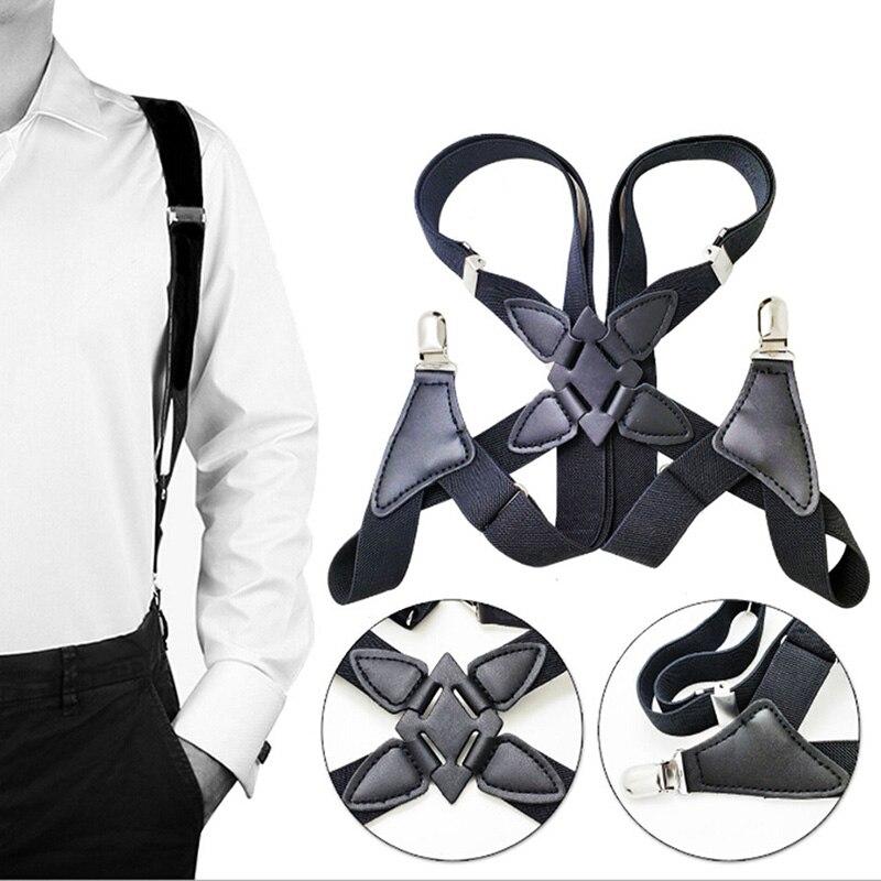 1pcs Fashion Suspenders Men Wide Adjustable Four Clip-on X- Back Elastic Black Braces