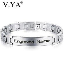V.YA Новое поступление браслет из нержавеющей стали Регулируемые мужские браслеты с надписью браслет с гравировкой для подарка на день рожде...