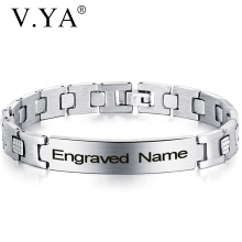 Mens Bracelets Engraved Stainless-Steel Adjustable Friends Bangle Birthday-Present V.YA