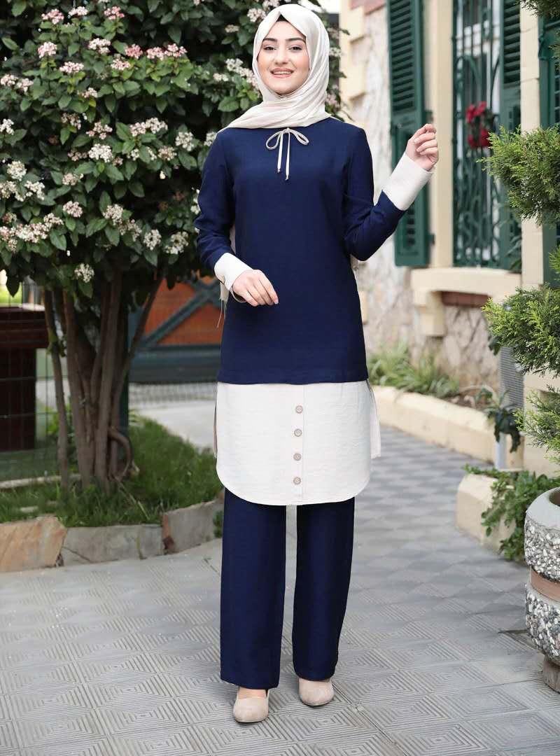 KUCLUT Turkish Muslim dress women's stitching contrast Islamic suit hijab dress Morocco Kaftangel Babu party 2 piece set