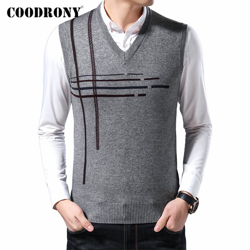 COODRONY Brand Sweater Men Business Casual Sleeveless Vest Men Autumn Winter Soft Warm Cashmere Wool Knitwear Pullover Men 91111