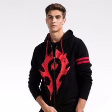Fashion Hoodies Man Mens Causal and Sweatshirts World of Warcreft Horde Fleece Zipper Hooded Streetwear Male
