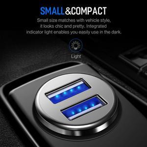 Image 4 - Chargeur de voiture universel en alliage de Zinc de haute qualité de chargeur de voiture en métal dusb de la roche 4.8A double pour des téléphones portables