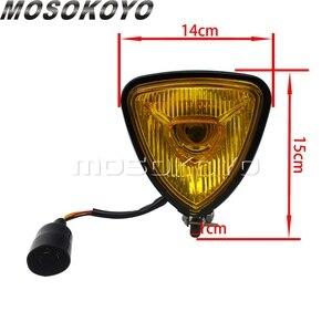 Image 2 - שחור צהוב עדשת אופנוע רטרו משולש פנס אמבר 12V בציר פנס עבור מותאם אישית אופני ופר הקפה רייסר אוניברסלי