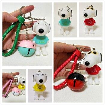 LLavero de dibujos animados de Snoopy Dog con soporte para llavero, abalorio con abalorio para perro, llavero de cuerda, accesorios, llavero con colgante de figuras de muñecos