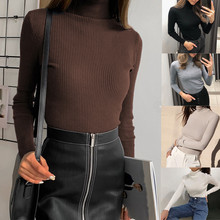 Women Casual Turtleneck Solid Sexy Slim Bodysuit Winter Play