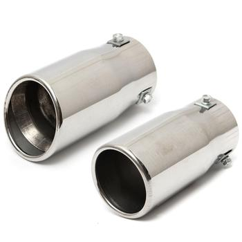 Vehicle Chrome Exhaust Pipe Tip Car Auto Muffler Steel Stainless Trim Tail Tube Auto Replacement Parts Exhaust Systems Mufflers universal car exhaust muffler tip high quality stainless steel pipe chrome trim modified car tail pipe exhaust system new