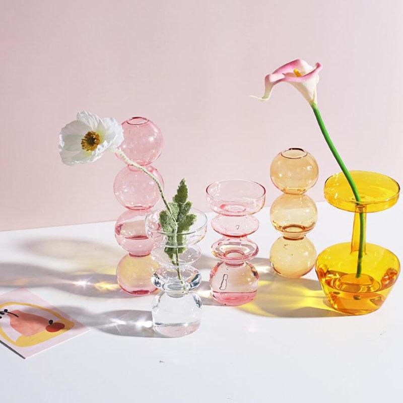 Home Decoration Glass Vase Room Decoration Flower Pot Modern Color Crystal Transparent Hydroponic Plant Flower Arrangement Art