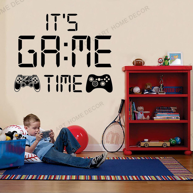 Image gamer wall sticker Time parade Controller video game wall decals Customized For Bedroom game club Vinyl Wall deor wx132 image
