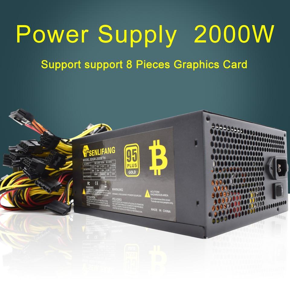 2000W 180-260V ATX extraction Bitcoin alimentation 95% haute efficacité pour Ethereum ETH S9 S7 L3 8GPU cartes soutien Max