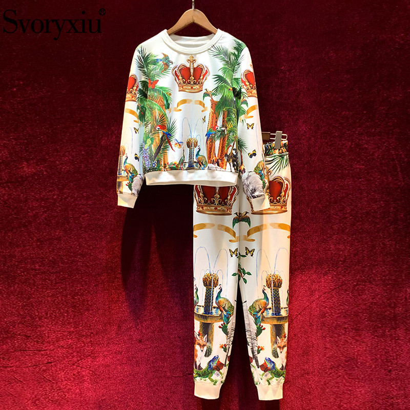 Svoryxiu Fashion Runway Autumn Winter Pants Suits Women's Vintage Crown Animal Printing Casual Motion Two Piece Set Female