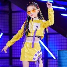 Girls Hip Hop Dance Costumes Yellow Shirt Short Skirt Cheerleading Clothes Kids