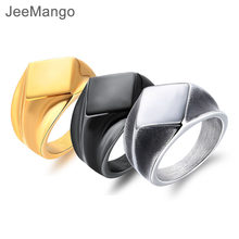 Retro Punk Smooth Rhombus Signet Stainless Steel Men's Ring Gold Color/Black/Steel Party Finger Jewelry Boy Gift JOGJ636(China)