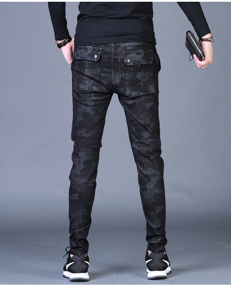 Free shipping new fashion men's male casual Original camouflage jeans men plus velvet autumn stitching pants Slim Korean C3129 83