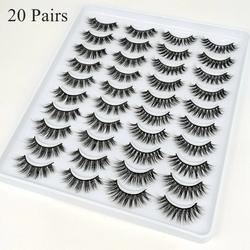 3D Mink Lashes Pack 5/10/20 Pairs in bulk,Mix Dramatic Natrual Mink Eyelashes,Messy Fluffy Long Faux Cils Packaging wholesale