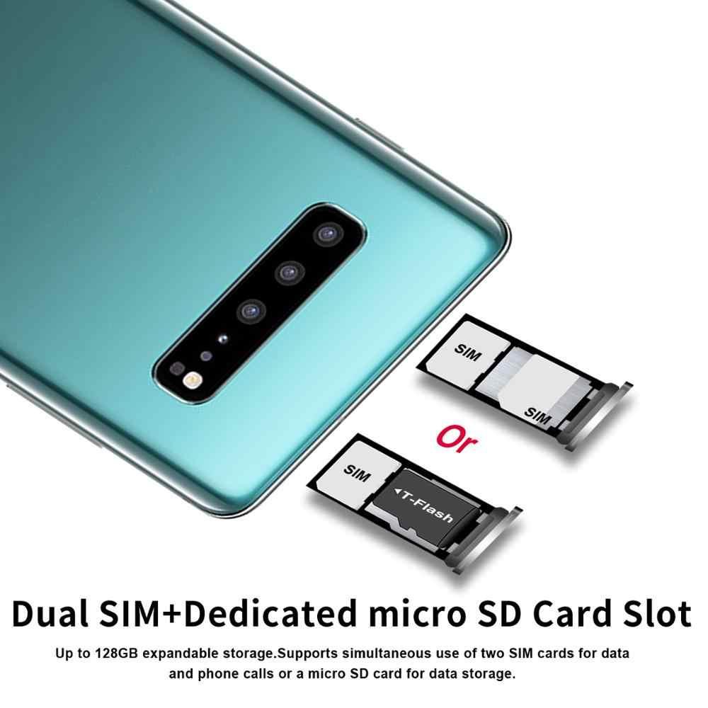 KIMTIEN S10 + Smartphone plein écran 6GB + 128GB 8 core Android 9.1 doigt visage ID double caméra 4G téléphone portable intelligent combiné