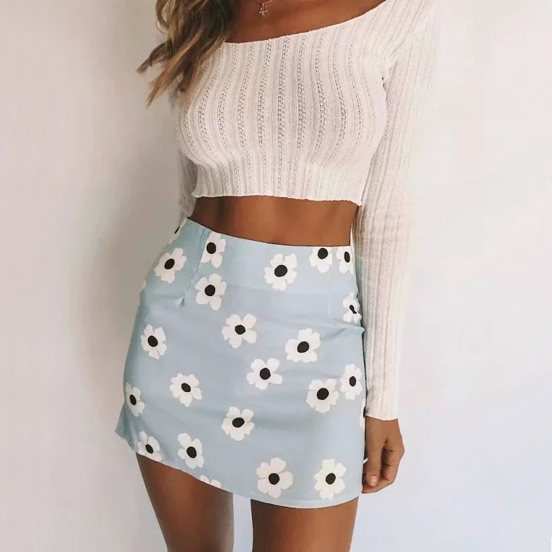 Women Floral Print Mini Skirts With Zip Back
