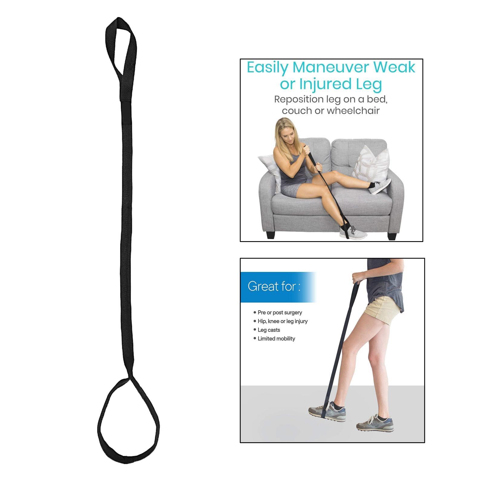 44' Leg Lifter Strap Rigid Foot Lifter&Hand Grip for Adult Elderly Handicap Mobility Aids Equipment Foot Raiser Straps