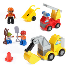 Duplo City Building Blocks Police Vehicles Friends Figures Truck Engineer Traffic Barrier Crane Big Size Toys For Children Duplo(China)
