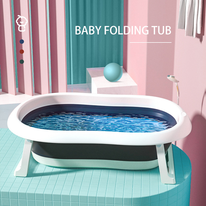 Baby Bathtub Folding Portable Plastic Large Tub Bath Pool Bathroom  Wash Shower Children Gift