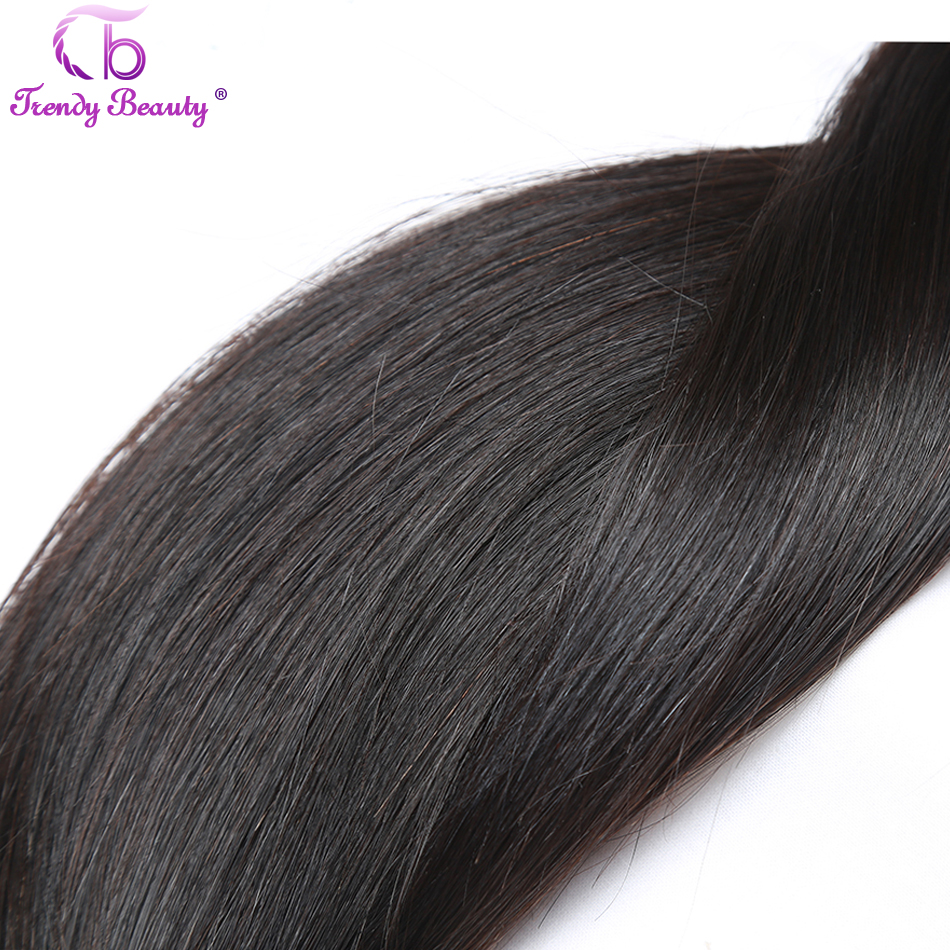 Image 4 - Trendy Beauty Peruvian straight hair 4 bundles with closure 100% human hair bundles with baby hair closure Middle/Three/Free-in 3/4 Bundles with Closure from Hair Extensions & Wigs