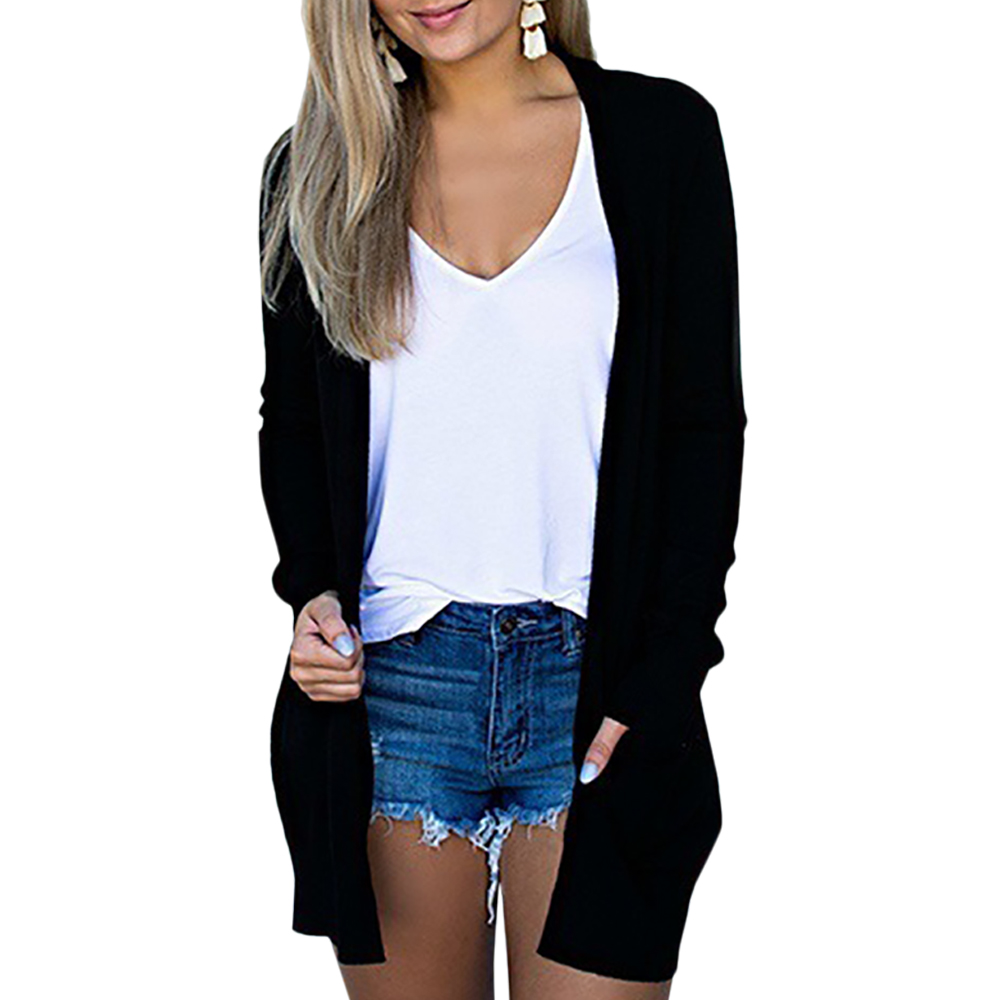 Solid Women's Cardigans Long Sleeve Loose Mid Length Knittwear Casual Sweater Cardigan  Thin Knitted Coat Cardigan Women's 6