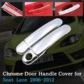 Хромированная крышка ручки двери автомобиля для Seat Leon 1P FR + Cupra MK2 2006 ~ 2012 комплект отделки внешние аксессуары 2007 2008 2009 2010 2011