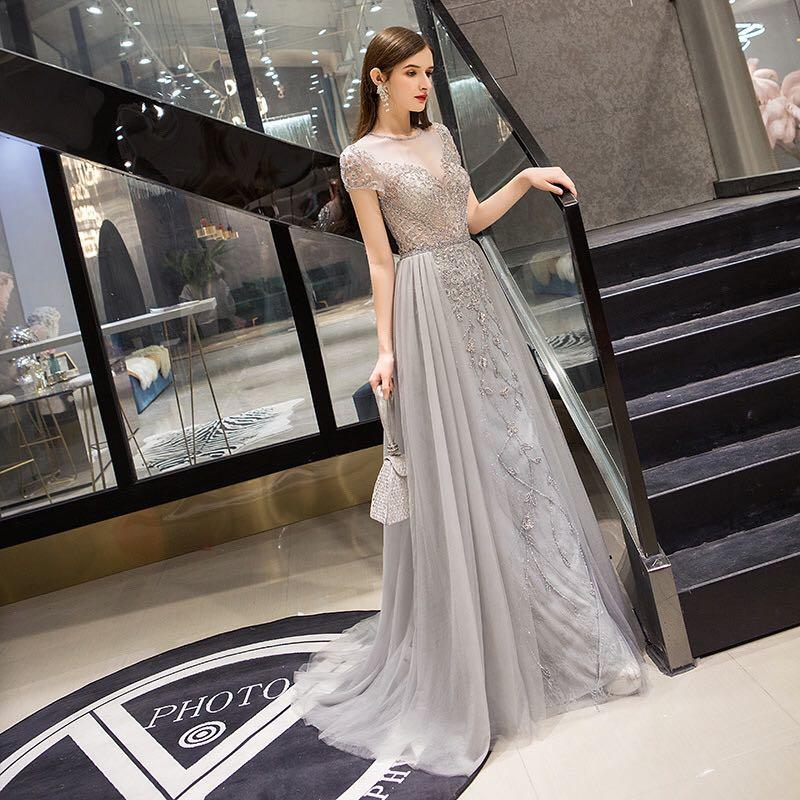 Серебристые вечерние платья с верхней юбкой с элегантными короткими рукавами прозрачные сзади Вечерние Выпускные платья с бисером