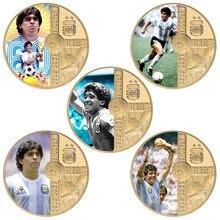 1960-2020 rip diego maradona ouro chapeado lembrança moedas conjunto com titular da moeda de futebol número 10 desafio moeda presente para os fãs