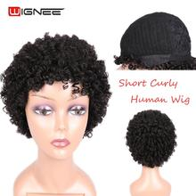 Wignee Short Hair Spiral Curly Human Hair Wig For Black Women Mixed Brown/2#Remy Peruvian Hair Machine Made 150% Short Human Wig short side bang straight mixed color siv human hair wig