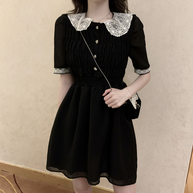 2021 Summer Retro Lace Peter Pan Collar Short Sleeve Black Chiffon Vestido Holiday A-line Chic Casual Ladies Slim Dress 1